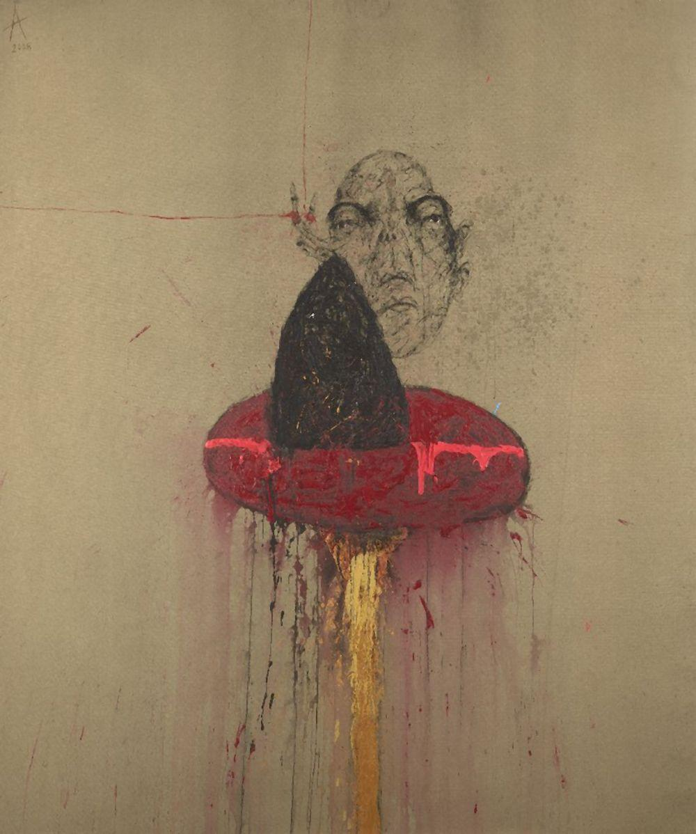 Sabhan Adam (Syrian, b. 1972), Untitled, 2008, mixed media on canvas, signe