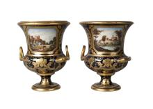 A pair of Derby porcelain campana urns