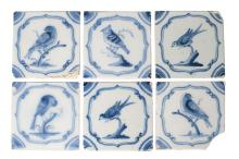 A set of six English Delft tiles