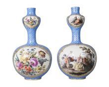 A pair of Dresden porcelain double gourd vases