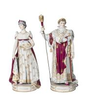 A pair of Sevres porcelain figures of the Emperor Napoleon and Josephine