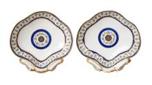 A pair of Sevres shell shaped dishes