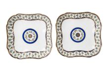 A pair of Sevres square shaped dishes