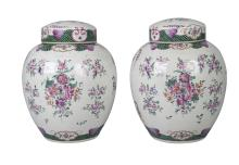 A pair of Samson porcelain  jars and covers