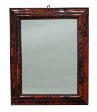 A tortoiseshell and ebonised framed mirror
