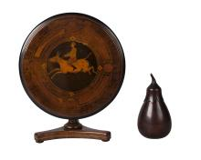 A Sorrento style miniature walnut and olivewood tilt top table