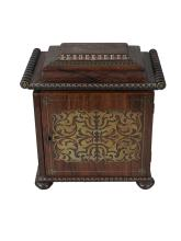 A Victorian rosewood and floral brass inlaid table top sewing box