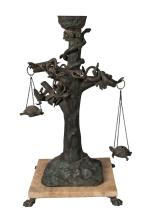 A large Italian bronze model of a tree