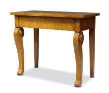A Biedermeier taste mahogany and cross banded side table