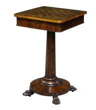 A mahogany and cross banded games table