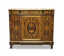 A large Continental marquetry inlaid side cabinet