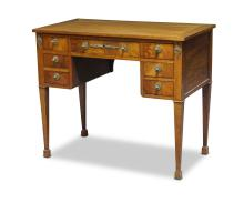A French Empire revival mahogany and gilt metal mounted kneehole desk