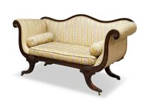 A Victorian upholstered mahogany chaise longue