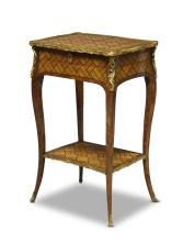 A Louis XV tulipwood and amaranth parquetry side table with gilt metal mounts