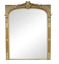 A large Louis XV style pine and gesso parcel gilt over mantel mirror