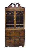 A Victorian mahogany and line inlaid secretaire bookcase