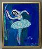 Katya Medvedeva, Russian b. 1937- ''Ballerina''; acrylic on, Katia Medvedeva, Click for value