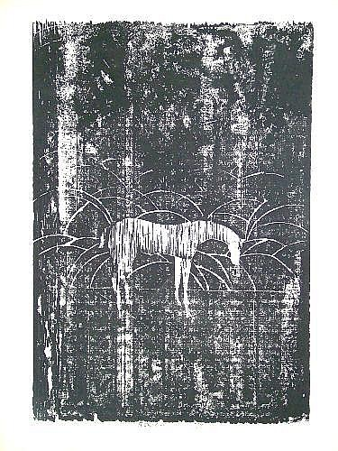 Ru Van Rossem b.1924- Horse in a baron landscape;