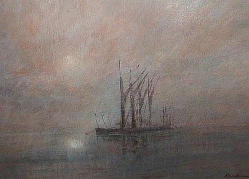 Ken Hildrew b.1934- Boat moored in foggy waters;