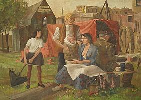 Peter Weaver RI, British b.1927- Circus Family,
