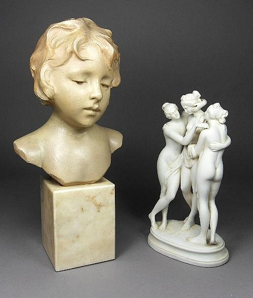 A parian figural group, 19th century, in classical