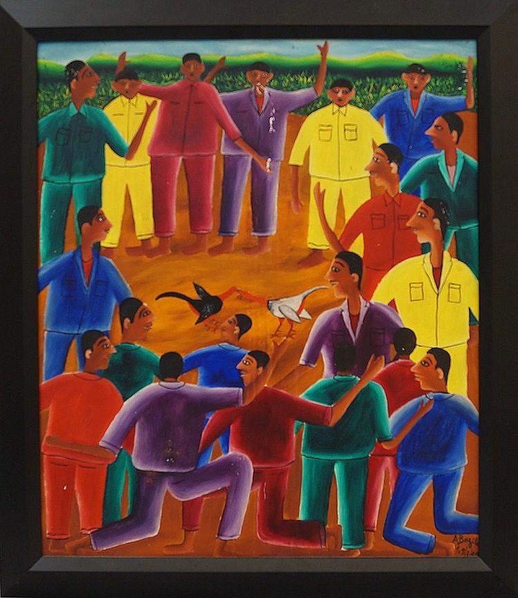 Alberoi Bazile, Haitian 1920-2005- Cockfight;