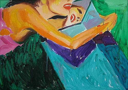 Janusz Haka, Polish b.1951- Girl with a mirror;