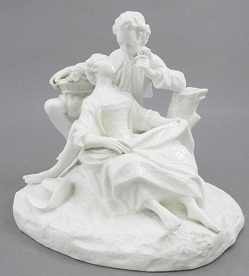 A Meissen style white china figural group of a