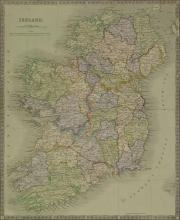 John Dower, British 1790-1847- ''Ireland'', map 1845; engraving with hand-colouring, publ. by Henry Teesdale & Co, 42x34.2cm: together with two other engravings with hand-colouring by the same hand, depicting maps of ''Europe'' and ''The World on