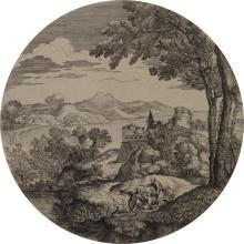 Giovanni Francesco Grimaldi, Italian 1606-1680- Landscape with four figures; etching, tondo, 22.5cm (diam.), (mounted, unframed)