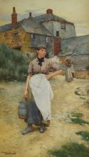 Walter Langley RI, British 1852-1922- ''A Cornish Village Maiden''; watercolour, signed and dated 83, 65.5x39.5cm Provenance: Victorian, Pre-Raphaelite & British Impressionist Art, Sotheby's London, 15th December 2016, lot 48; acquired by the