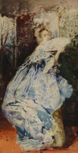 Salvador Sánchez Barbudo, Spanish 1857-1917- Lady in an interior with a fan; watercolour, signed, 39.2x20.7cm