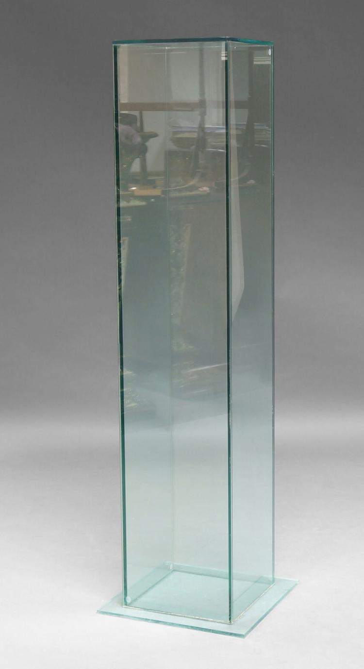 A contemporary clear glass pedestal of square form on squa for Furniture 30cm deep