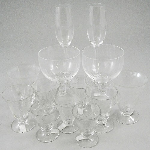 A clear glass part cordial service, mid 20th