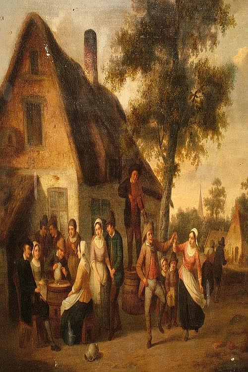 Camille Venneman, Belgian 1827-1868- Villagers