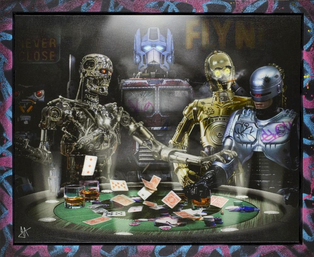 J J Adams, British b.1978- Droids; mixed media with diamond dust on canvas, initialled in silve