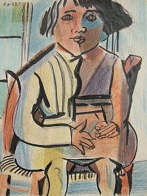 Aldo Brizzi, Italian 1907-1957- Seated girl; brush