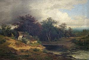 Jules André, French 1807-1869- Cottage with