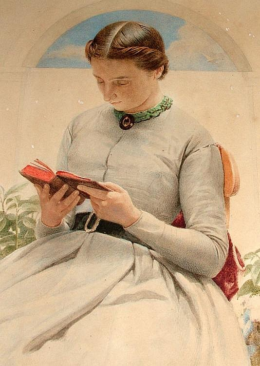 Edward Radford 1831-1921- A young woman reading on