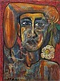 Samir Rafi, Egyptian 1926-2004- Portrait with a, Samir Rafi, Click for value