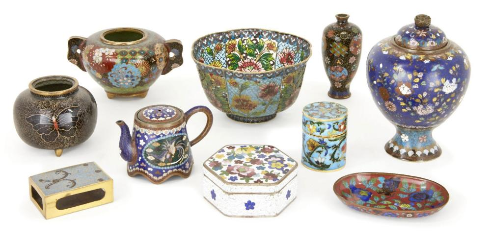 A small collection of Japanese cloisonné, late Meiji period, to include a miniature teapot, two hand