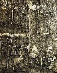 "John Virtue, British b.1947- ""Landscape No. 44"";"
