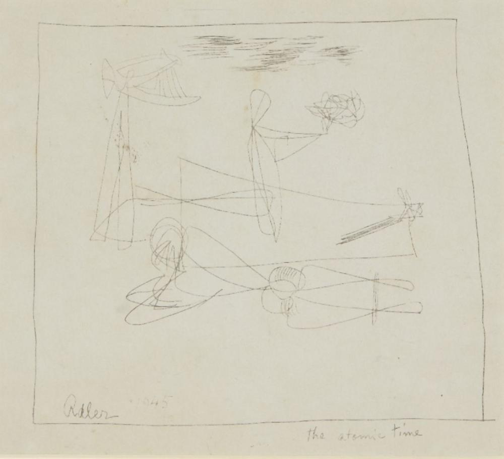 Jankel Adler, Polish 1895-1949- The Atomic Time, 1945 and Two figures Opus 12A, undated; two mono