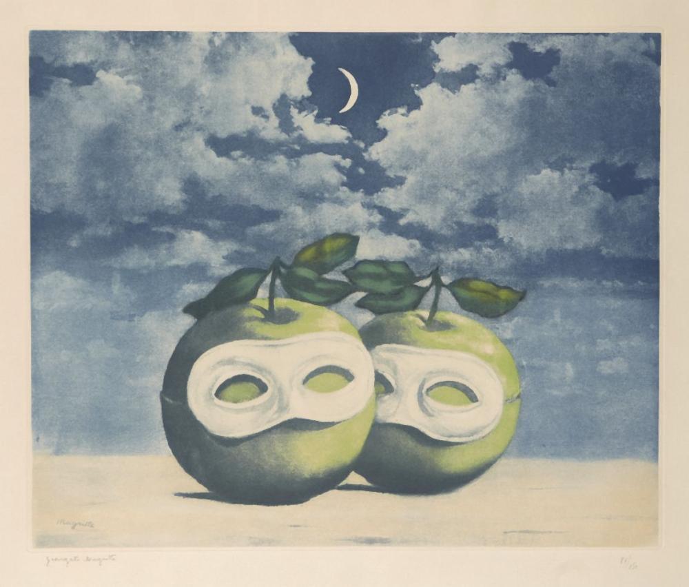 After René Magritte, Belgian 1898-1967- La Valse Hésitation [K. & B. 13], 1971;  etching in col