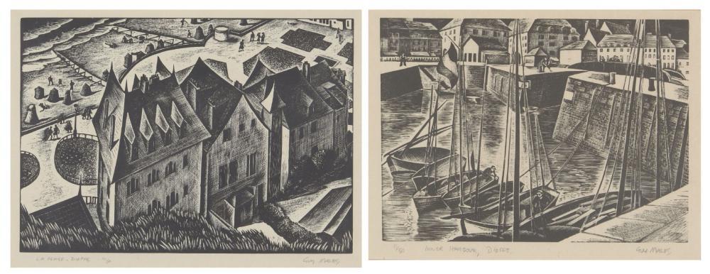 Guy Malet RBA SWE, British 1900-1973 Inner Harbour, Dieppe and La Plage, Dieppe; two wood engravin