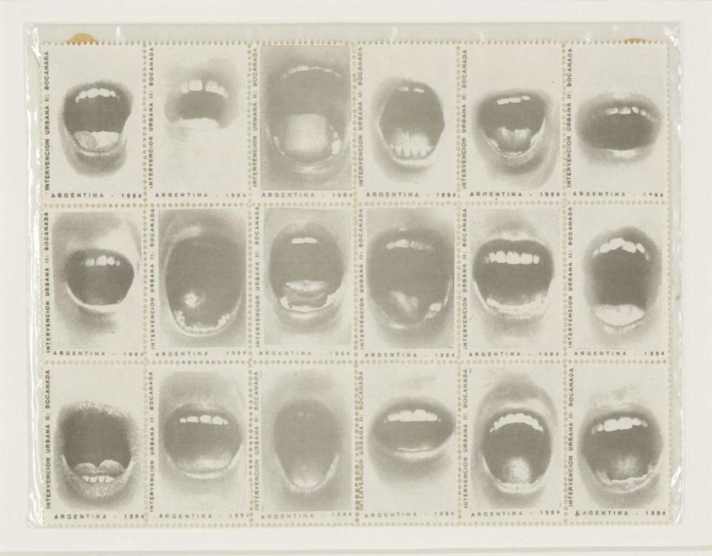 Graciela Sacco, Argentinian 1956-2017- Bocanada, 1993; heliograph on postage stamps, from the se