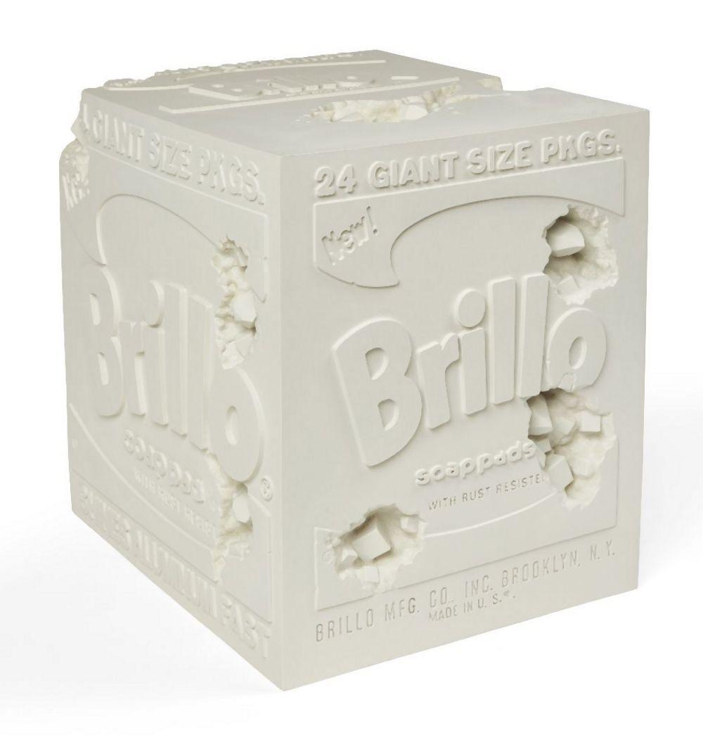 Daniel Arsham, American b.1980- Eroded Brillo Box, 2020; plaster with glass fragments multiple,