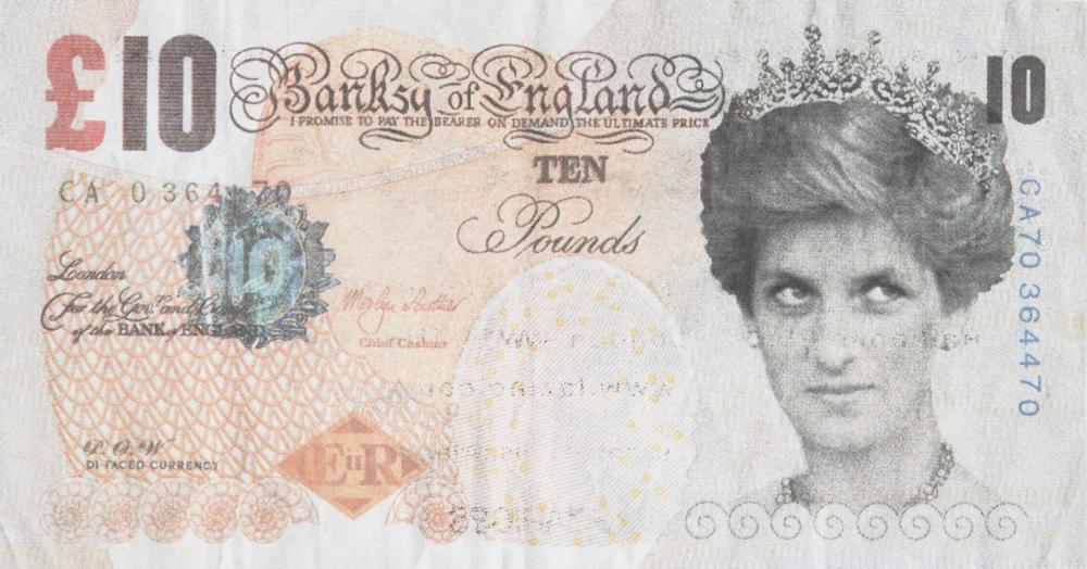 Banksy, British b.1974- Di-faced Tenner invitation, 2004; offset lithograph in colours, produce
