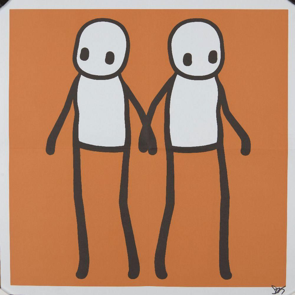 Stik, British b.1979- Holding Hands Poster (Orange), 2020; lithographic poster in colours on 14