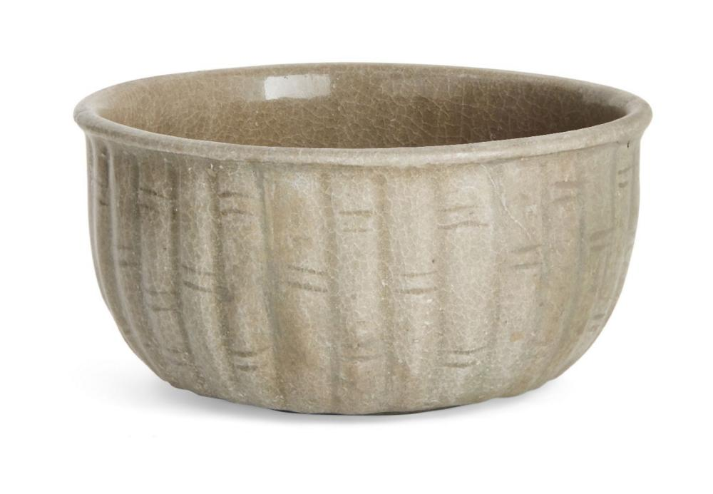 A Korean stoneware celadon 'bamboo' bowl, Goryeo dynasty, the exterior moulded as a band of bamboo s